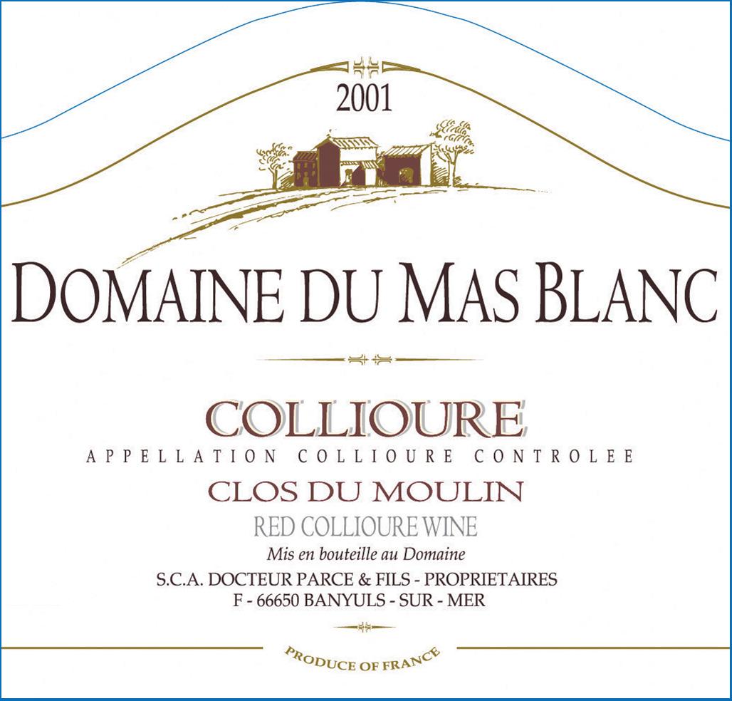 Domaine du Mas Blanc Collioure 'Clos du Moulin' 2000